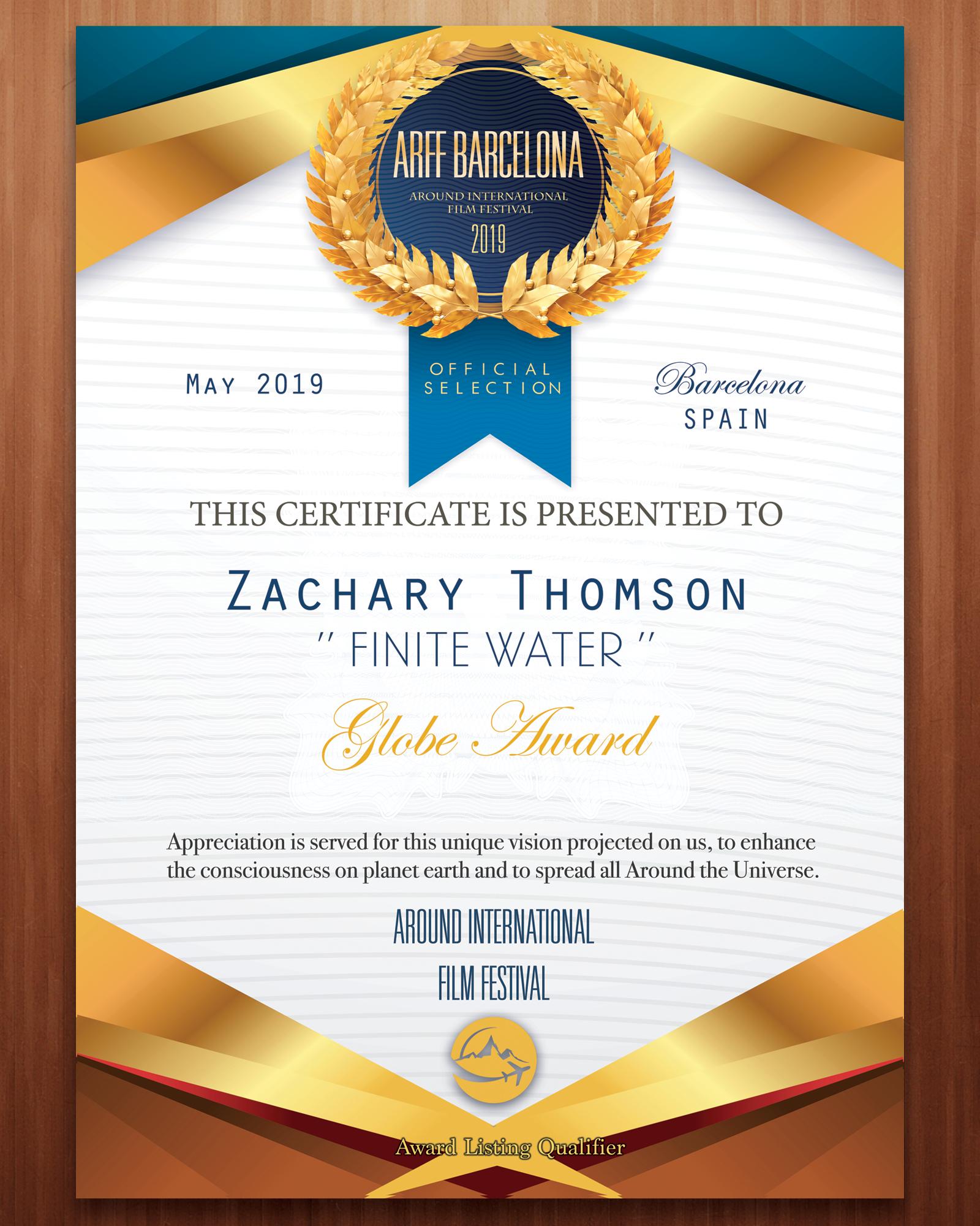 ARFF_Certificate_Finite_Water_Zachary Thomson_2019.png