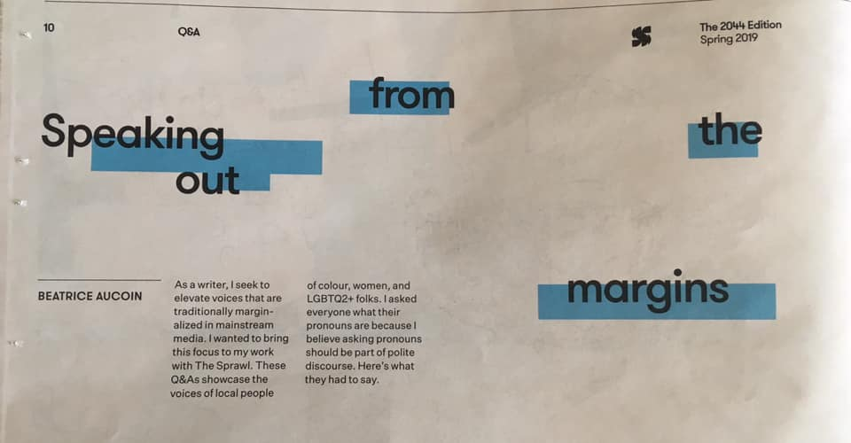 title and byline from  The Sprawl  newspaper edition