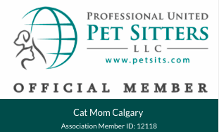 Cat Mom Calgary's  Professional United Pet Sitters  official membership card.