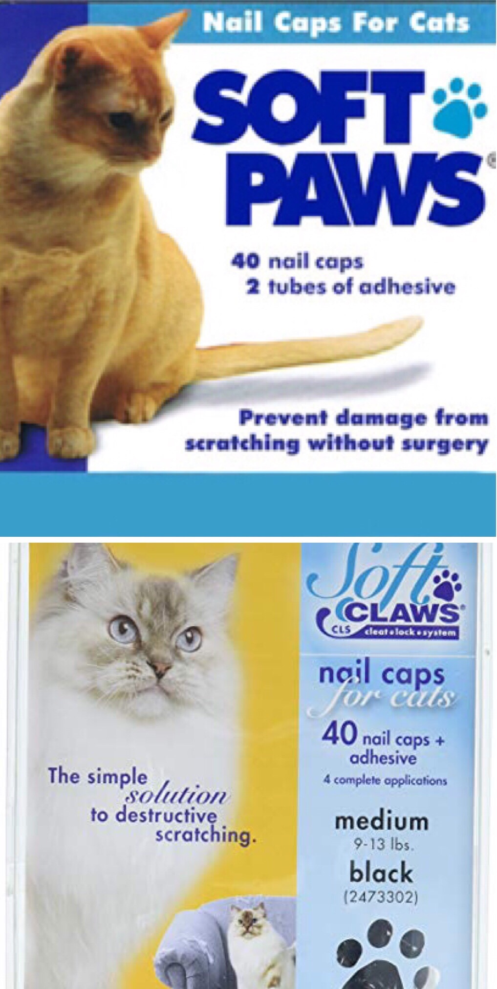 Soft Paws/Soft Claws nail caps for cats.