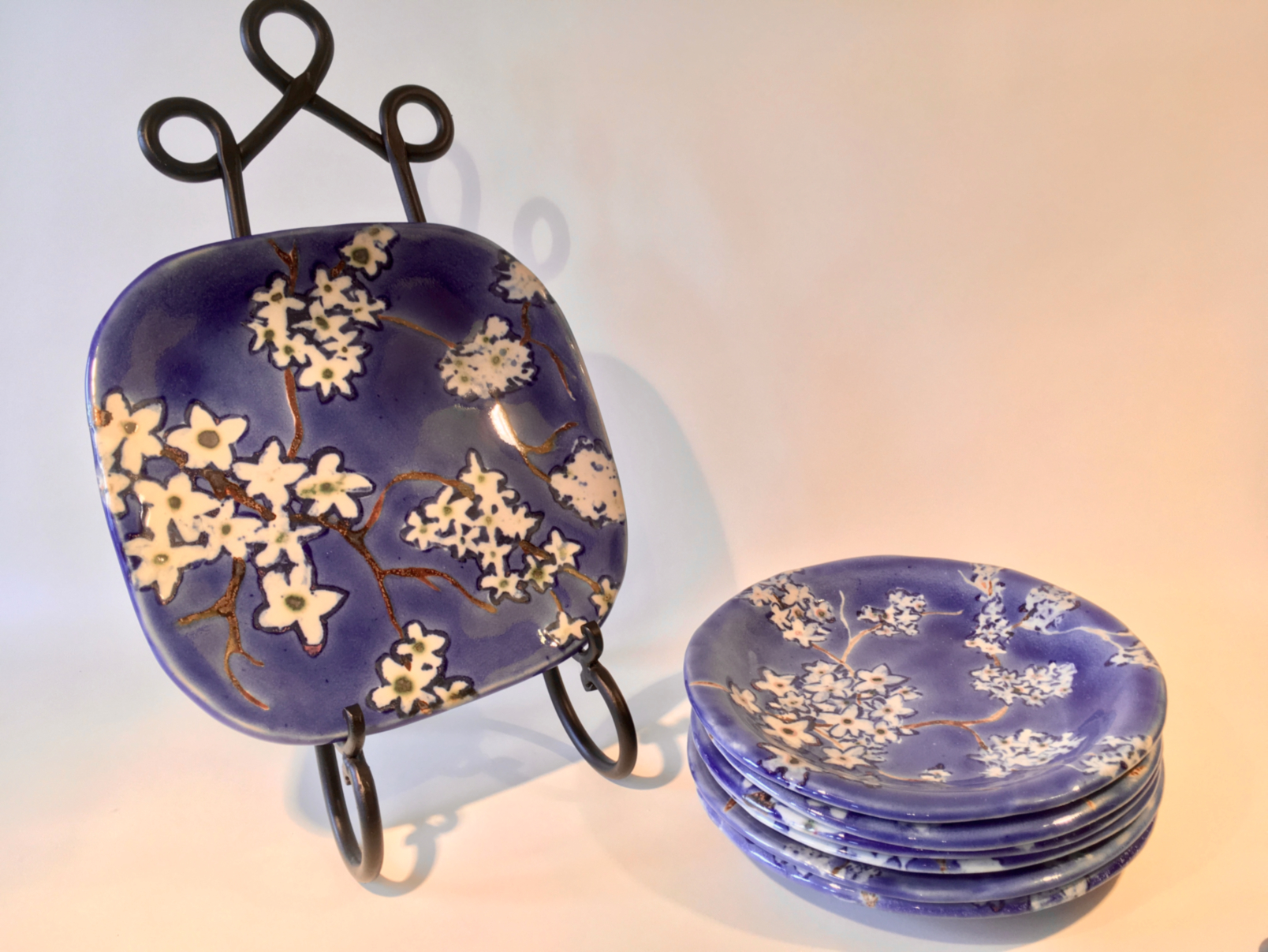 """Cherry Spring Plates and Platter:  8"""" plates; 9 x 9"""" platter"""