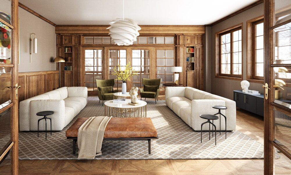 Formal living area with wooden features and warm brown walls
