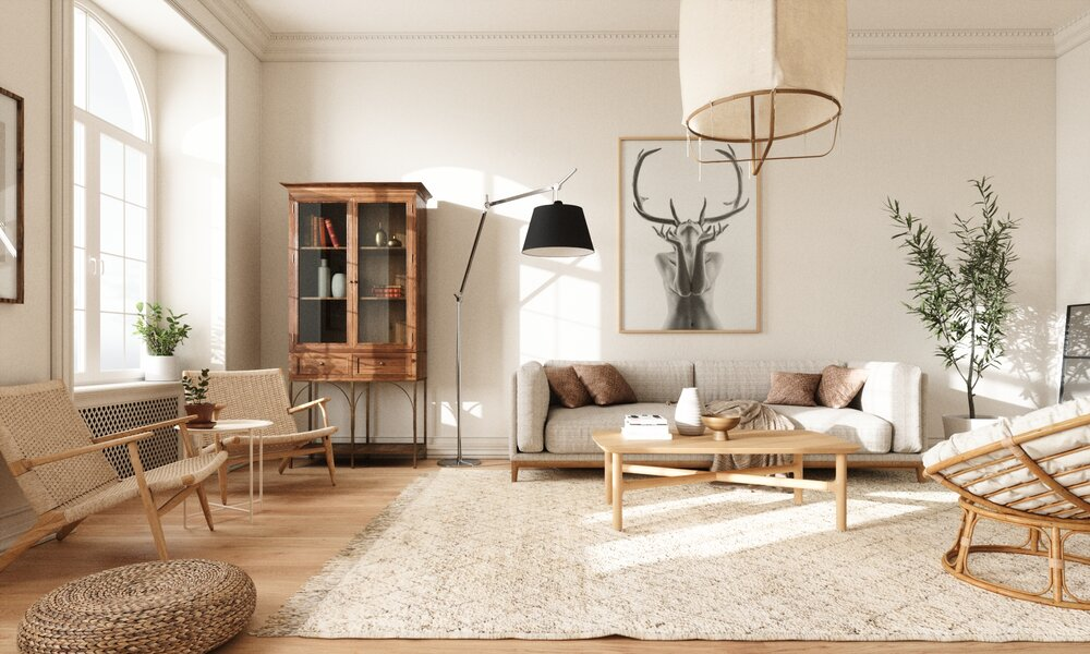 Scandinavian style living room decorated with warm neutral tones