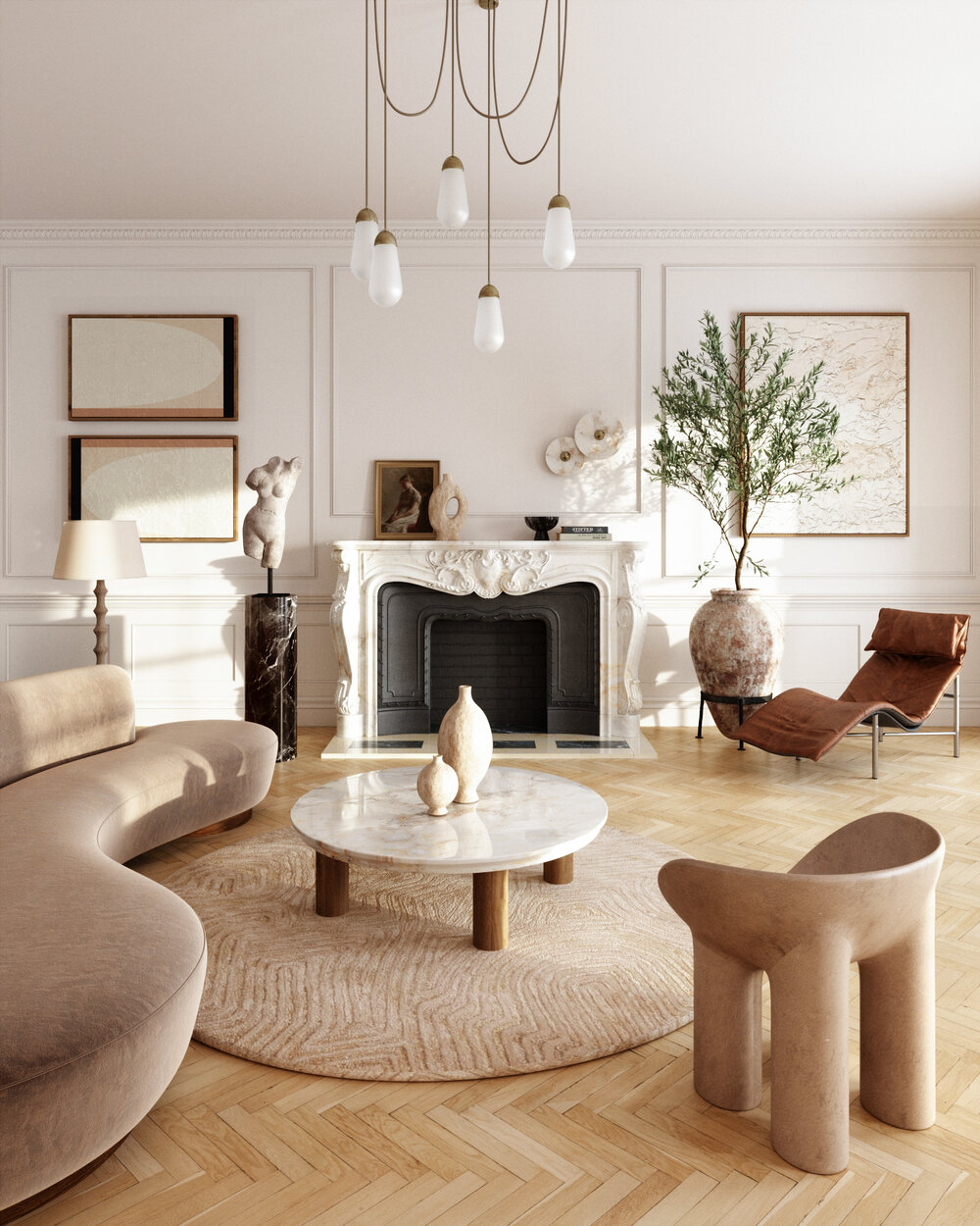 Neutral toned living room with organic shapes, colours and textures