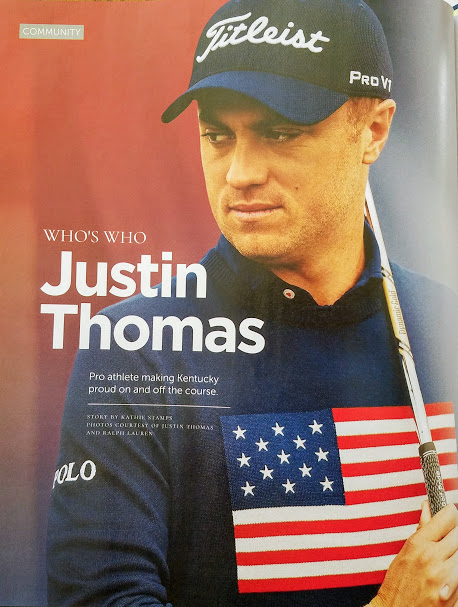 Kentuckian Justin Thomas. Cover story of July 2019 Tops in Lex magazine.