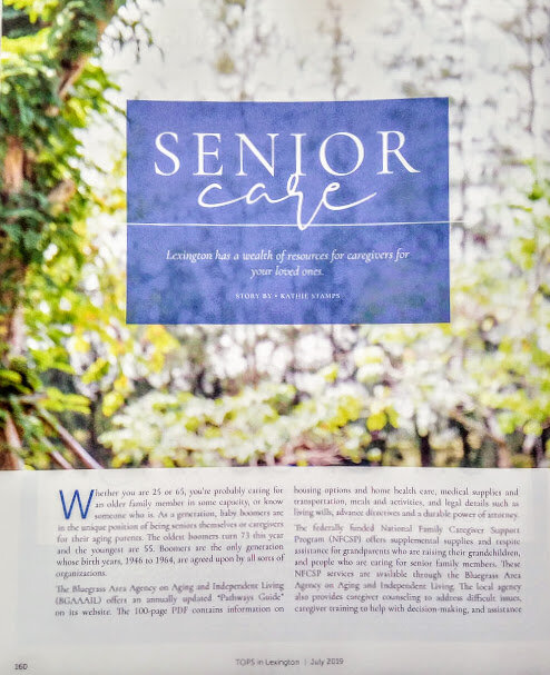 Caregiver resources, info and tips for an article in Tops in Lex.