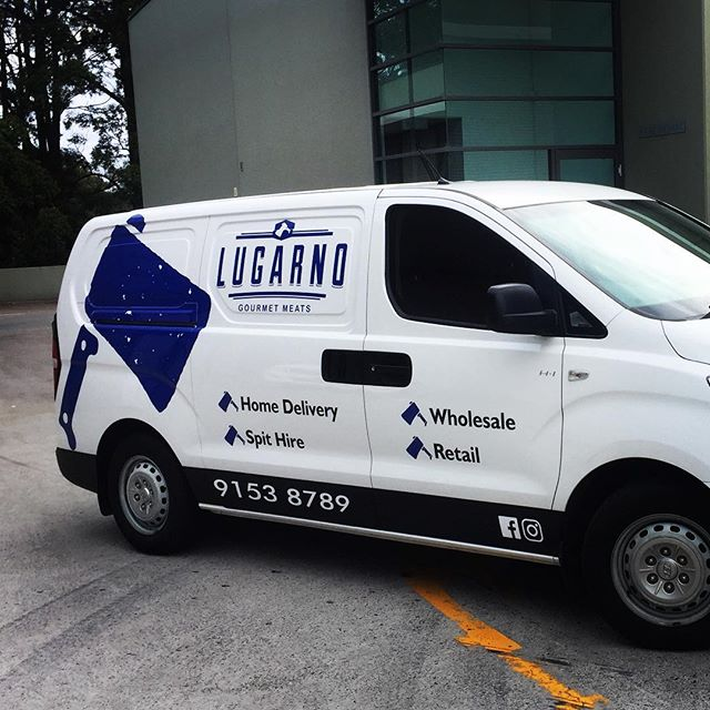 Transforming a White iLoad into a moving billboard for Lugarno Gourmet Meats.. Contact us to find out how we can transform your work vehicle! design@allstuckup.com.au #stickers #hyundai #iload #transform #design #print #install #decals #allstuckup
