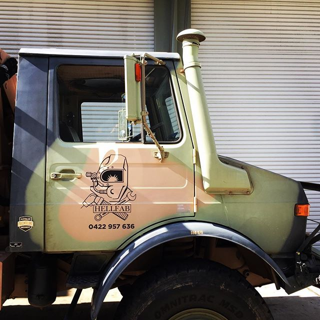 The looks you get when your Work truck is an ex-army beast!! Interesting job adding on the door decals and rear panel.. #hellfab #allstuckup #army #tank #beast #camo #stickers #decals
