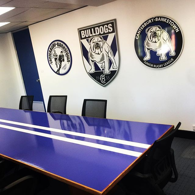Upgrade for the @nrl_bulldogs board room table today, Vinyl Wrapped Table.. Transforms the feel of the room.. Contact Us to find out how we can transform your Work/Home area!! design@allstuckup.com.au #bulldogs #canterburybankstownbulldogs #dogsofwar #allstuckup #vinyl #tablewrap #stickers #transform