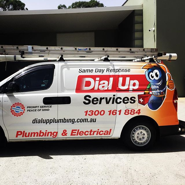 Insurance Job completed.. Brought the Dial Up Services Van back to its former glory.. For any Vehicle Signage contact us via design@allstuckup.com.au #allstuckup #dialupservices #carwrap #arlongraphics