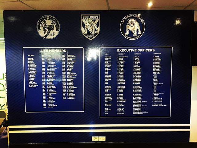 Another addition to the @nrl_bulldogs  Offices at Belmore.. Wall Wrap with a modern twist on the Executive Members List.. #bulldogs #wallwrap #dogsofwar #allstuckup @juniorbulldogs_