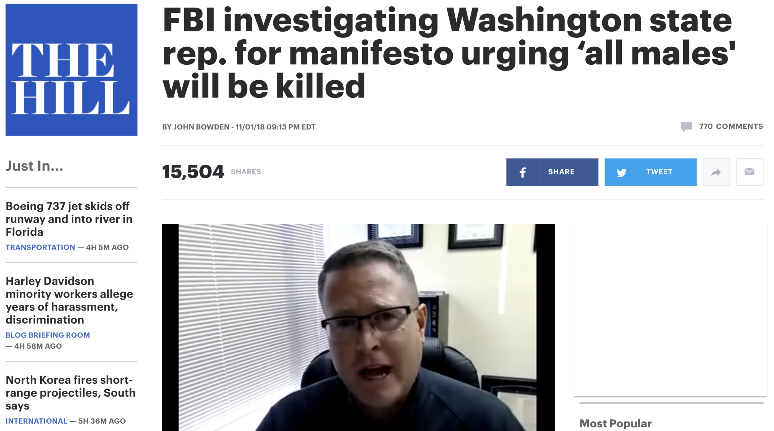 """The FBI says it's investigating a Washington state Republican who distributed a manifesto calling for ""war"" against enemies of the Christian religion.  The document, a  four-page explanation  of how to establish Christian law through armed struggle, calls for the end of same-sex marriage, abortion, and the death of all non-Christian males in the U.S. if religious law is not upheld.""   CLICK HERE FOR FULL ARTICLE"