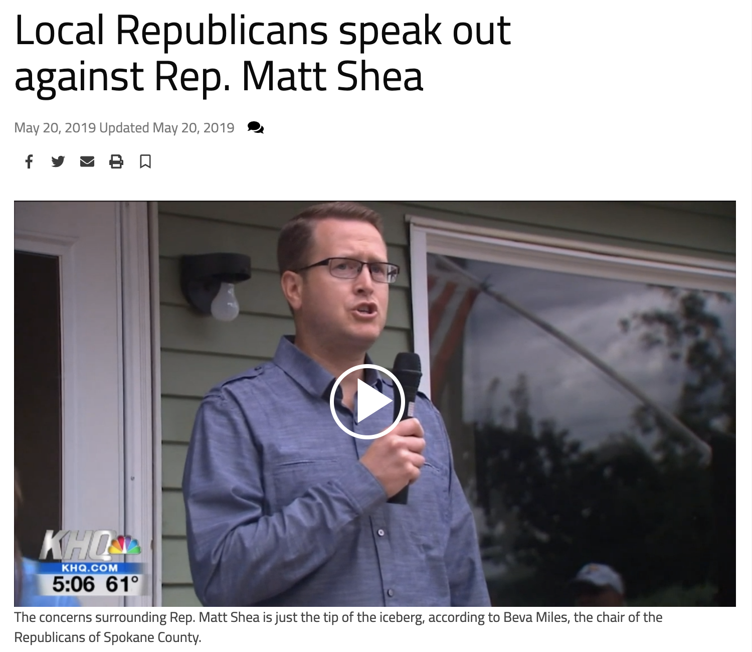 She and many other local Republicans are disagreeing with Rep. Matt Shea, but Miles said they've distanced themselves from Shea for almost a decade - much before   the recent allegations surrounding the Spokane Valley representative.    According to Miles, Spokane County's GOP is being heavily influenced with Christian extremism, which includes the same ideals laid out in   Rep. Shea's leaked biblical manifesto.         CLICK HERE FOR FULL ARTICLE