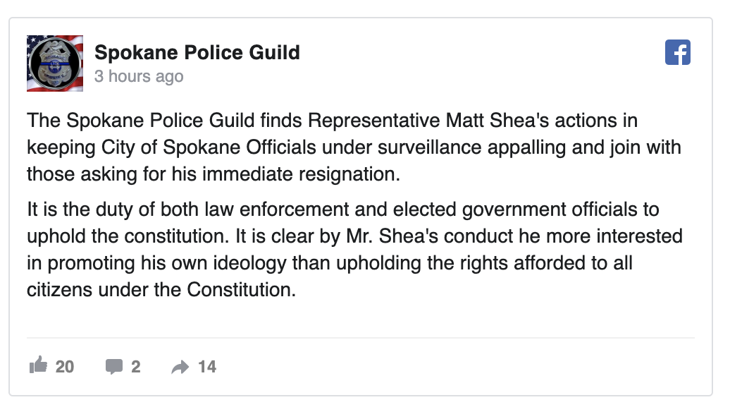 Spokane Police Guild calls for Rep. Shea to resign —   READ FULL ARTICLE HERE