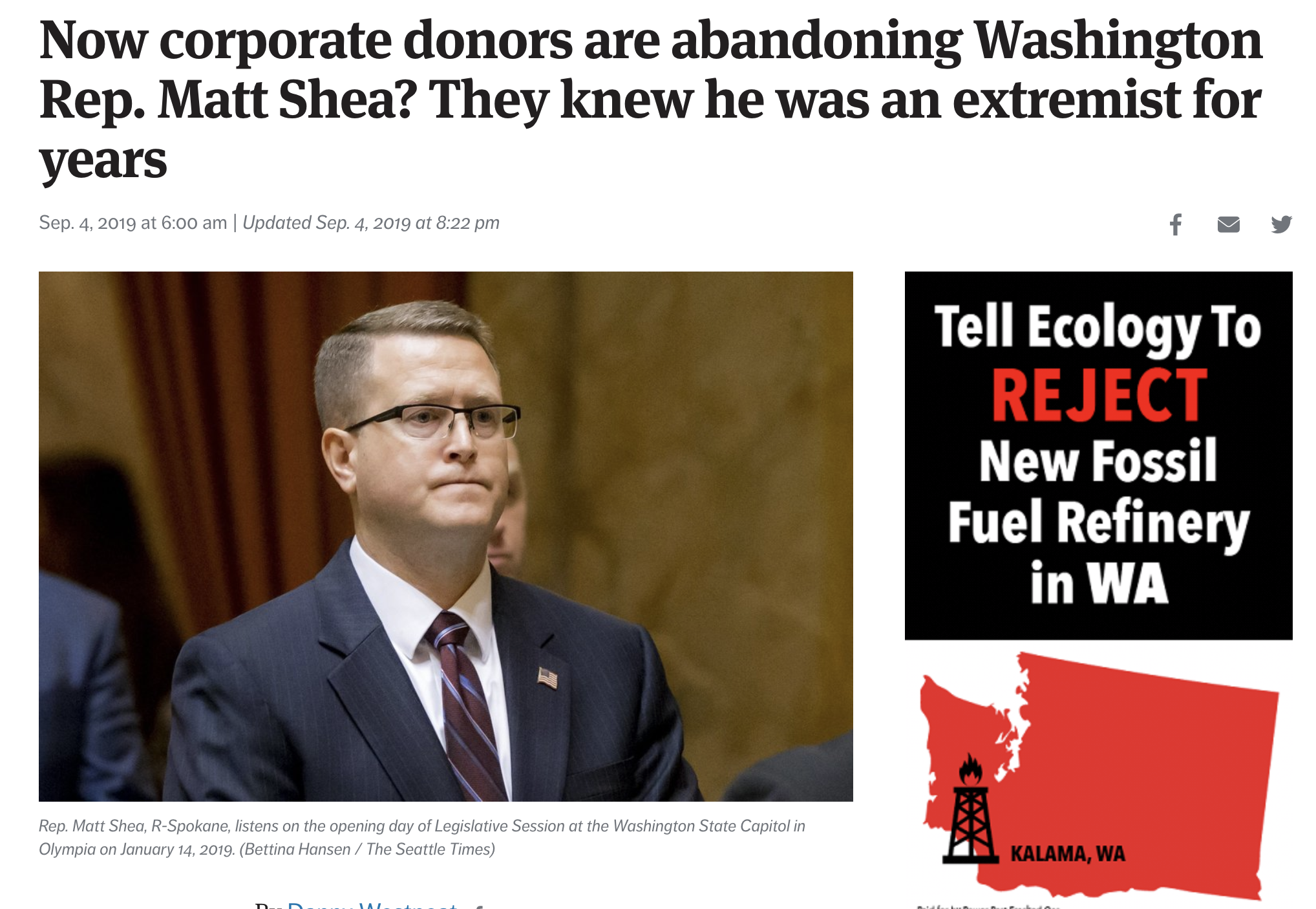 """When corporate spokespeople sing the same platitudes as if in a chorus, it's a dead giveaway. You just know they're covering for something.  So I had to shake my head at how  the business donors who now are fleeing  from state Rep. Matt Shea and his crazy-talk of biblical war all sound as if their statements were mixed in the same political porridge factory.  """"We strongly condemn the views expressed, as they are in direct contrast to our values of diversity and inclusion,"""" said BNSF Railway, which gave $2,000 to help Shea, R-Spokane Valley, get reelected last year, and now wants it back.  READ FULL STORY HERE"""
