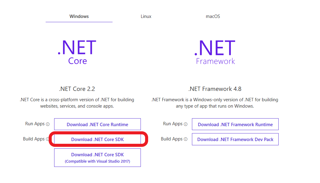 "Download .Net Core - 1. Select ""Download .Net Core SDK""2. Save it to disk3. Run installer"