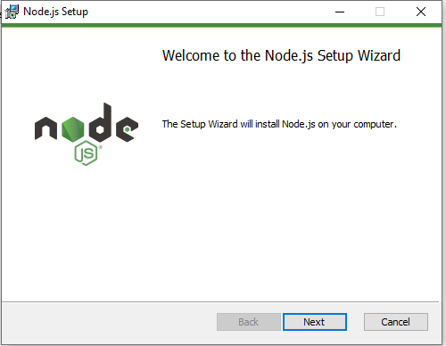 Node.js welcome screen
