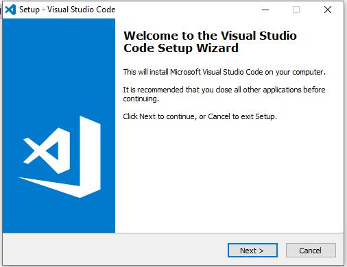VSCode welcome screen