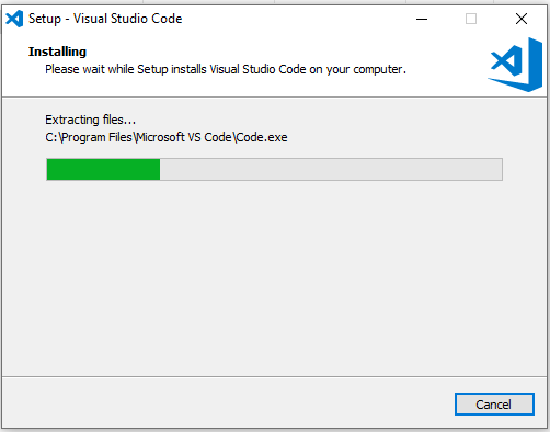 VSCode installation in progress