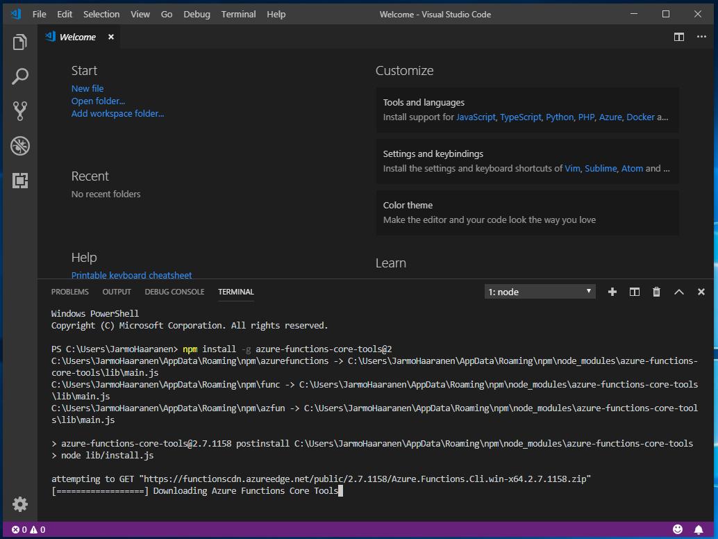 run npm command - npm install -g azure-functions-core-tools@2