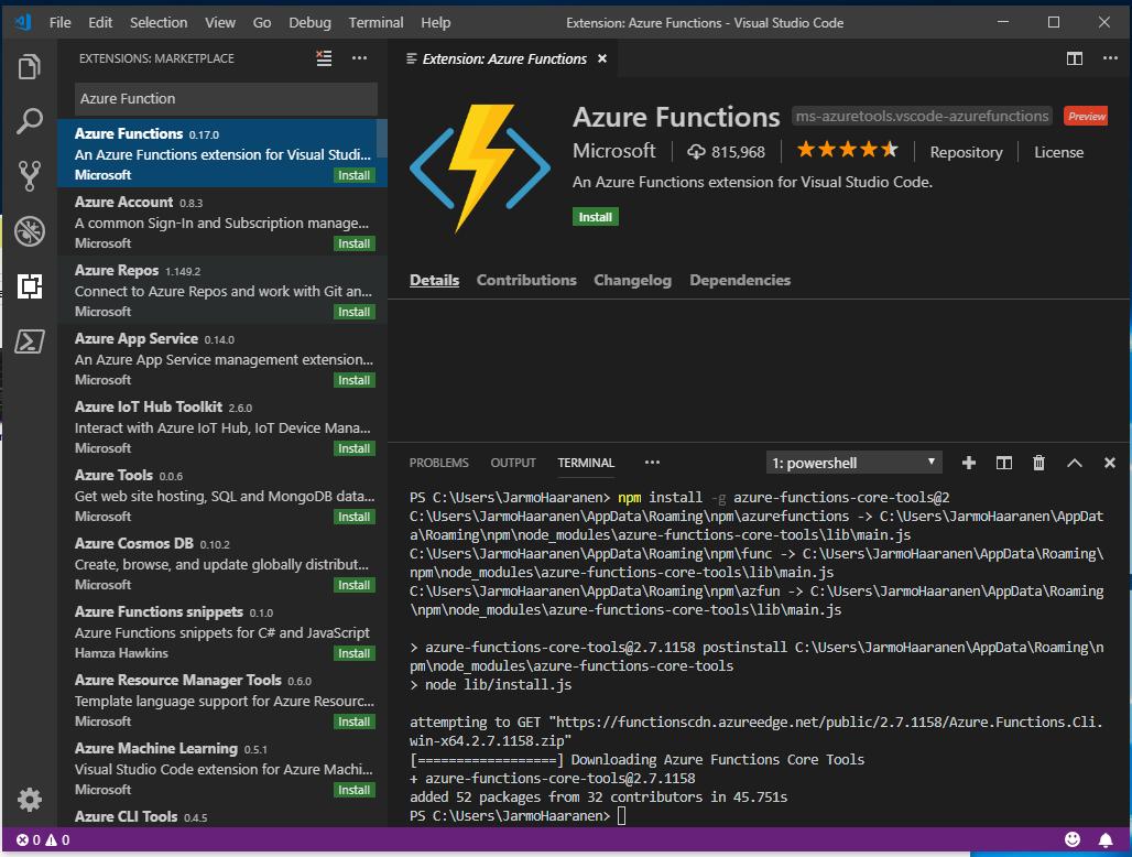 Setting up Azure Functions PowerShell local development environment