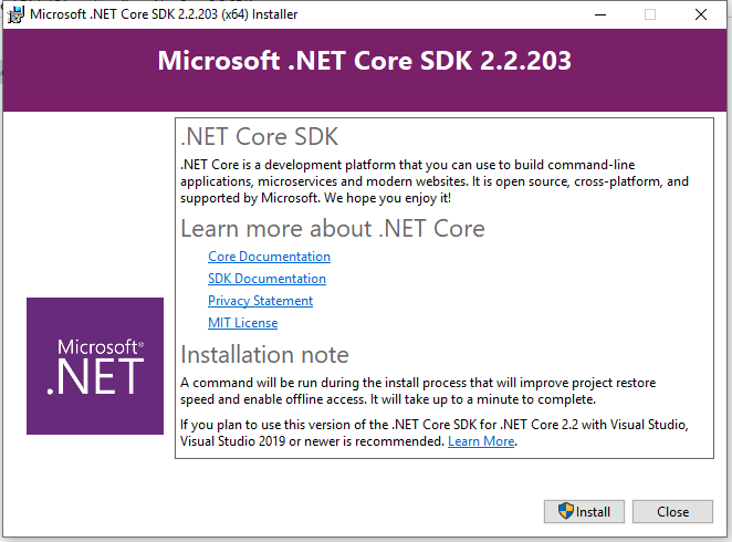 Net Core SDk Welcome screen