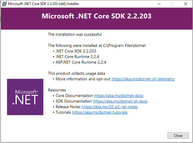 Net Core SDK installation completed