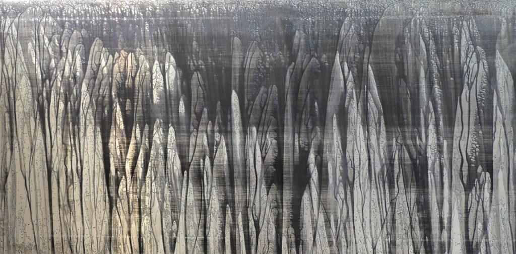 Andromède attachée au rocher -200 x 100 cm  Zinc, acides, acrylique bleu