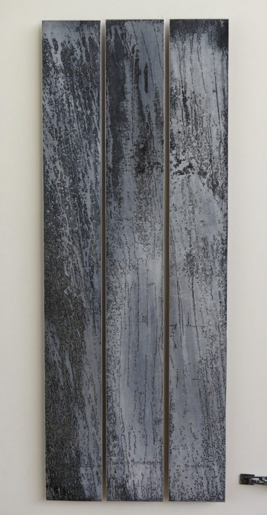 Dioné 100 X 38 cm Zinc, acides, acrylique noir