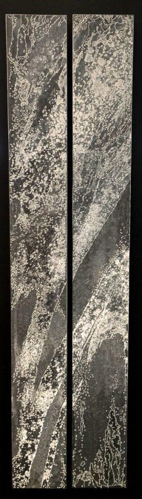 Eioné - 100 x 25 cm Zinc, acides, acrylique noir