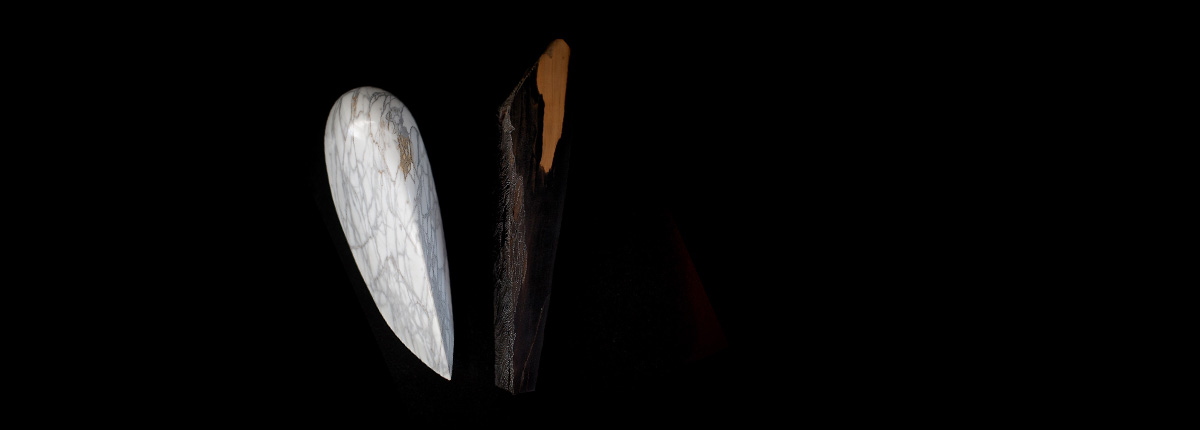 Conscience Endormie  Marbre Arabescato / Bois d'ébène de maccasar / Acrylique  40 cm x 50 cm x 20 cm