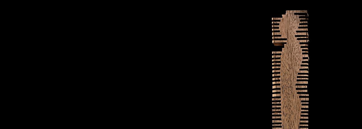 Frémissement n°7 Bois de sipo / bronze 75 x 7 x 7 cm