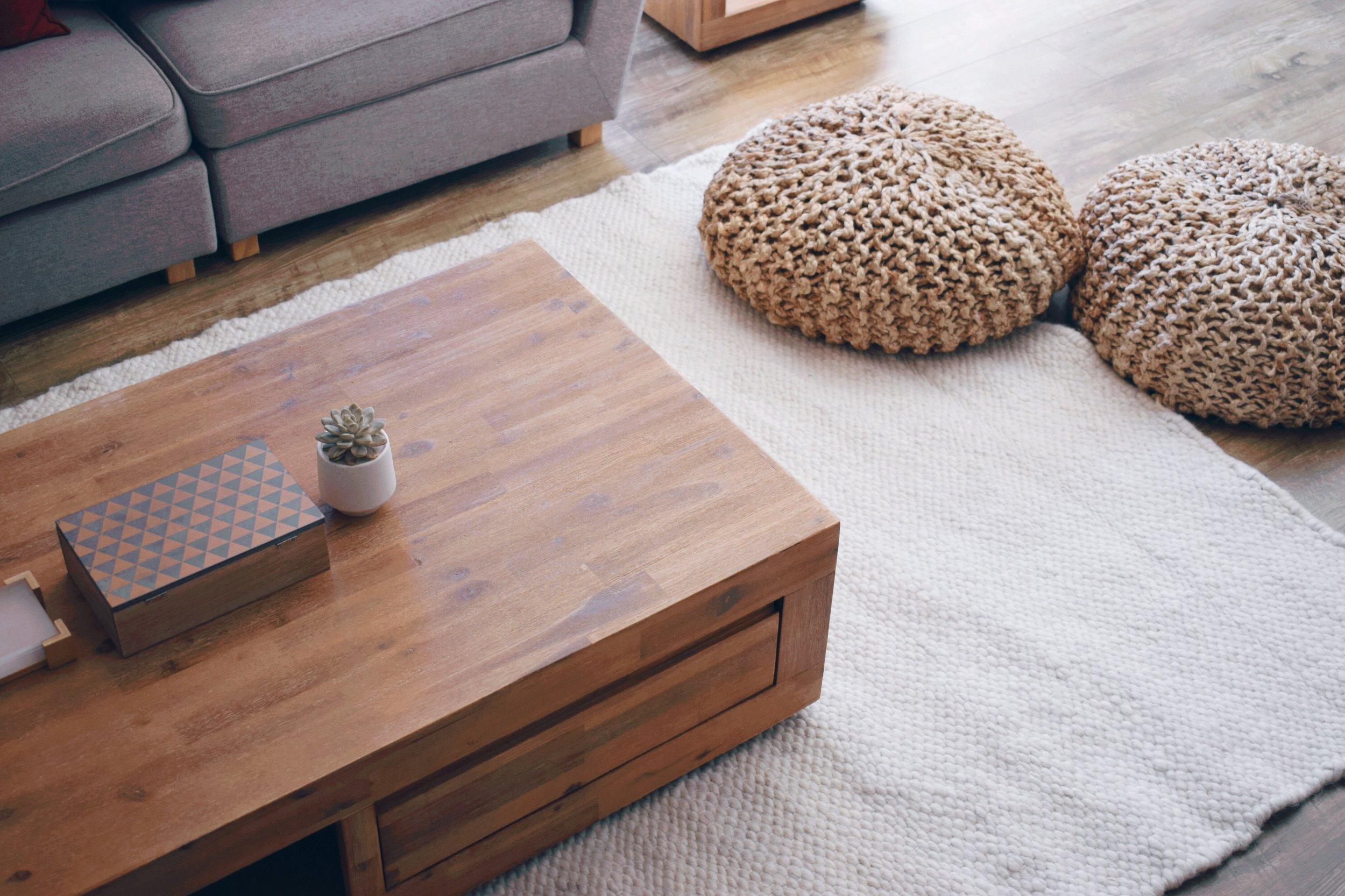Karakul wool carpet, flat weave design in natural white