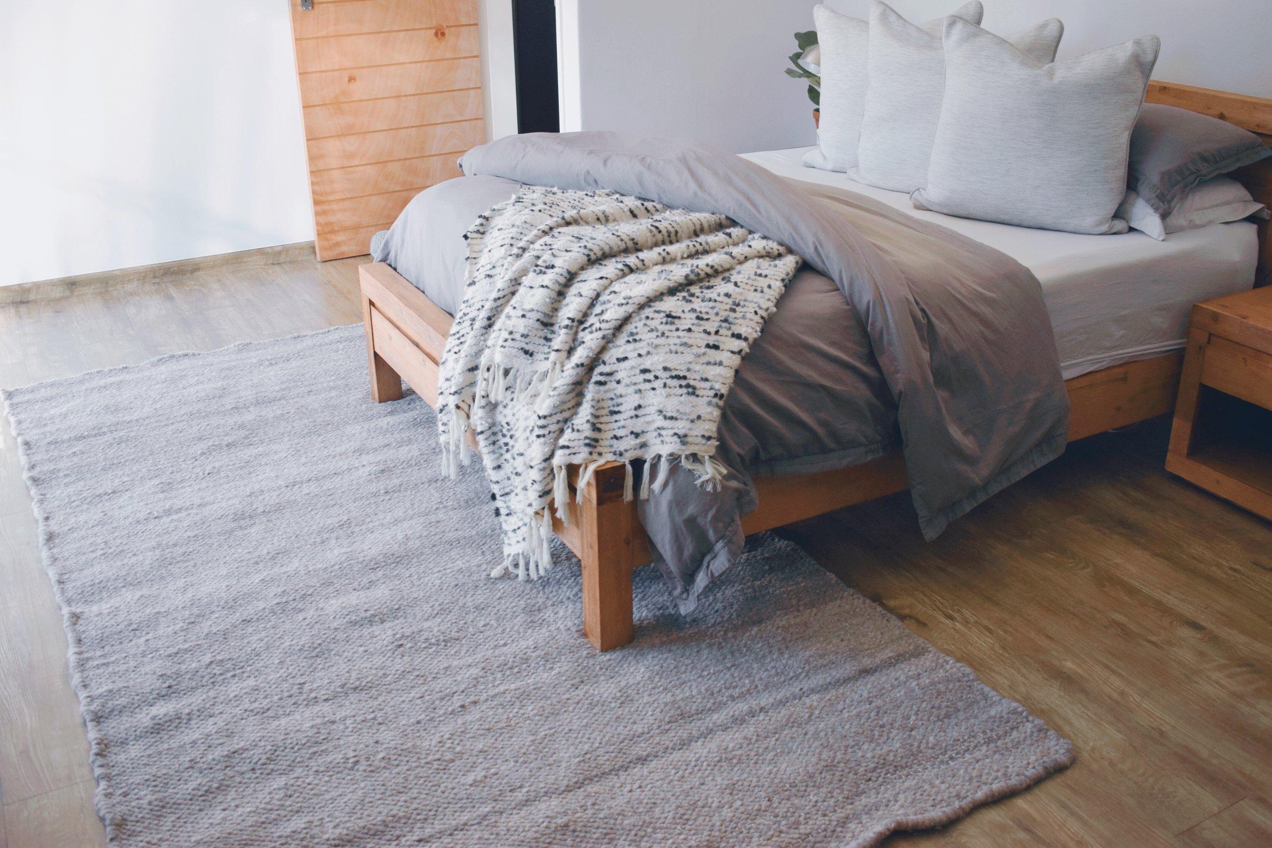 Karakul wool carpet, flat weave design in thorn