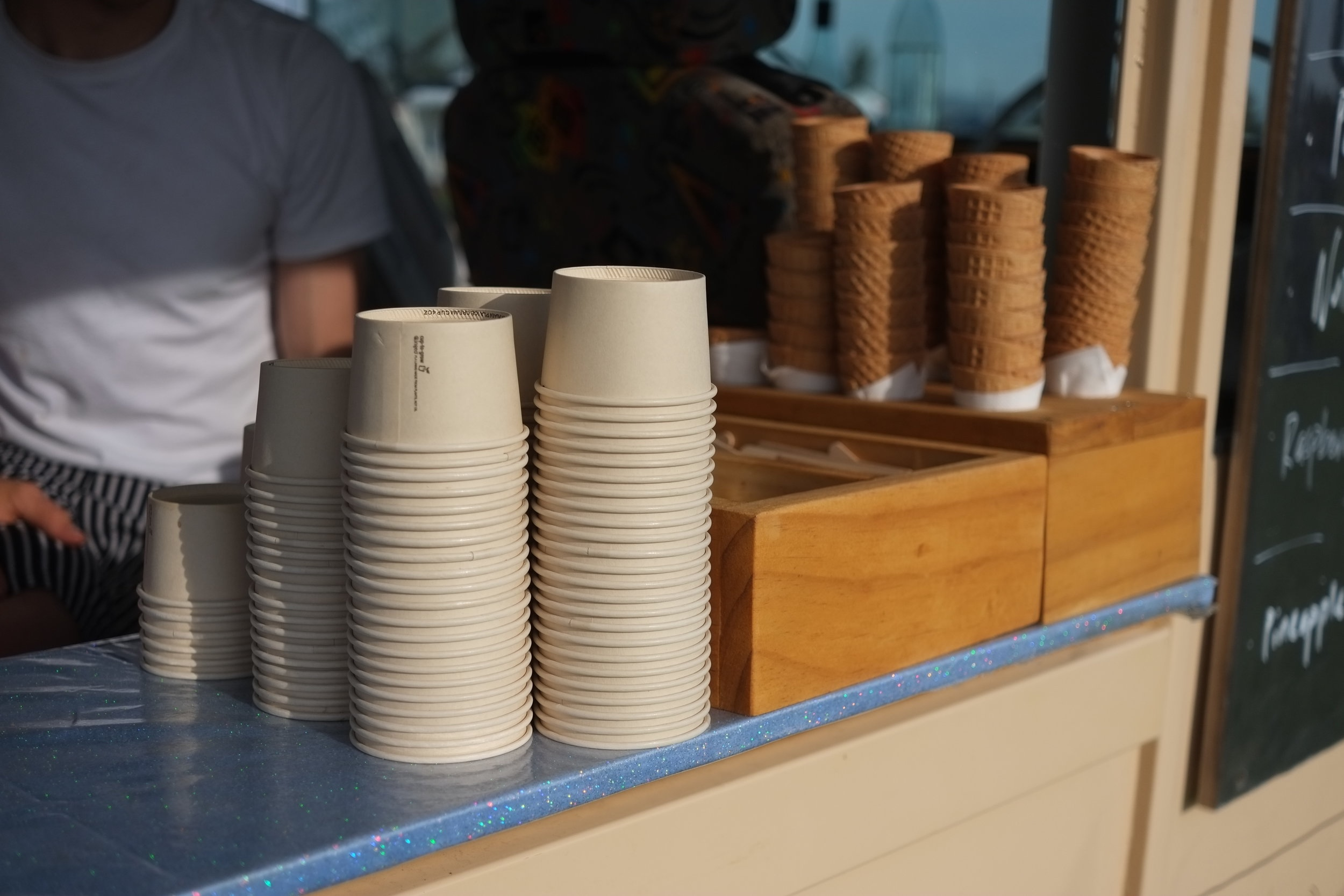 We only use compostable cups, spoons and serviettes.