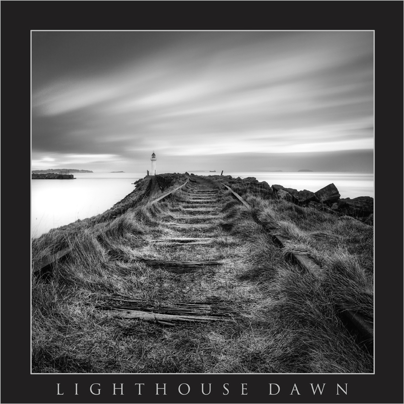 LIGHTHOUSE DAWN;BARRY; JACKSONS BAY BARRY; SOUTH WALES LANDSCAPE PHOTOGRAPHY; JACKSONS BAY LIGHTHOUSE; SUNRISE AT JACKSONS BAY; BUY CANVAS OF JACKSONS BAY; BLACK AND WHITE IMAGES OF BARRY.jpg