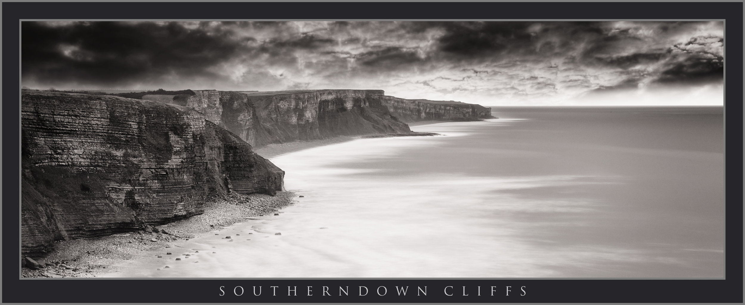 SOUTHERNDOWN CLIFFS PANORAMIC BLACK AND WHITE;; OGMORE; SOUTH WALES LANDSCAPE PHOTOGRAPHY; BUY PHOTOS OF SOUTHERNDOWN SOUTH WALES; BUY CANVAS OF WALES LANDSCAPE IMAGES.jpg