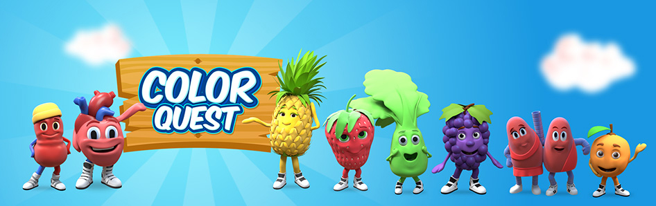 The COLOR QUEST team is here to teach you how to be healthy! Character designs by Theory Studios.