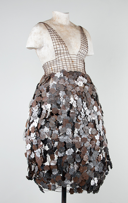 Steel Pansy Dress  steel, magnets, plaster, 26 x 12 x 70 inches, 2007