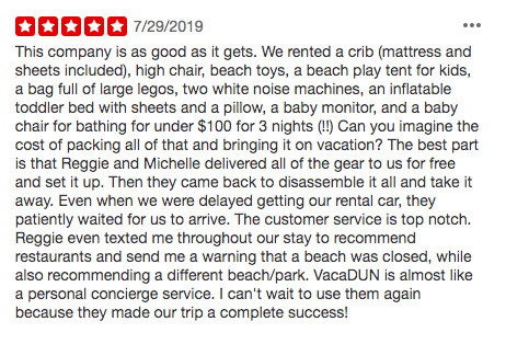 5 Star ratings for VacaDUN baby equipment rentals