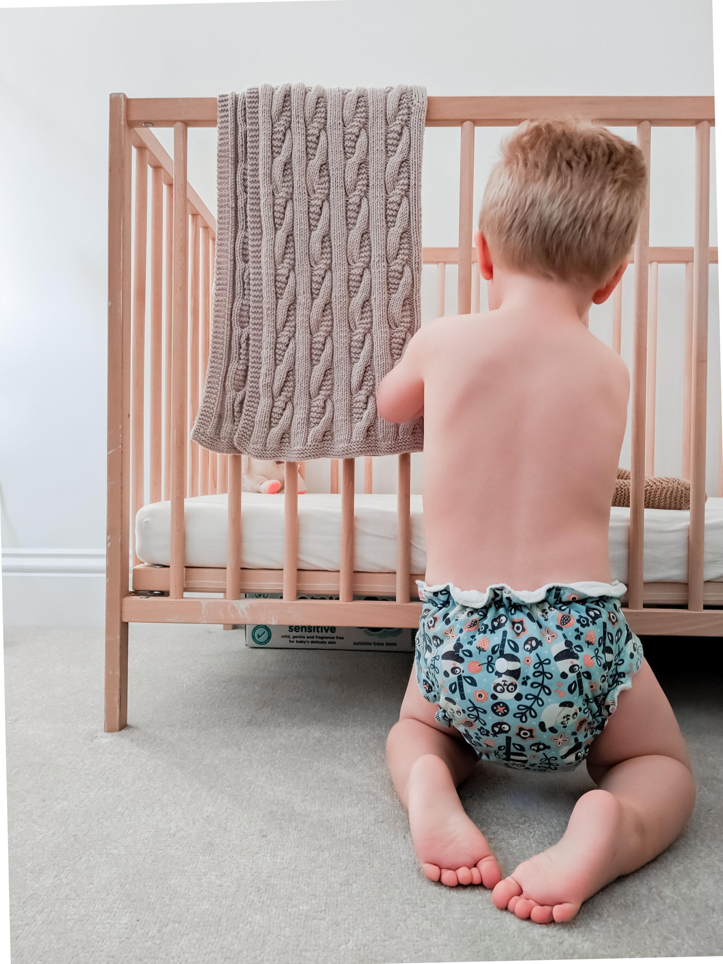Toddler in Petit Lulu Maxi Night fluffy organic nappy