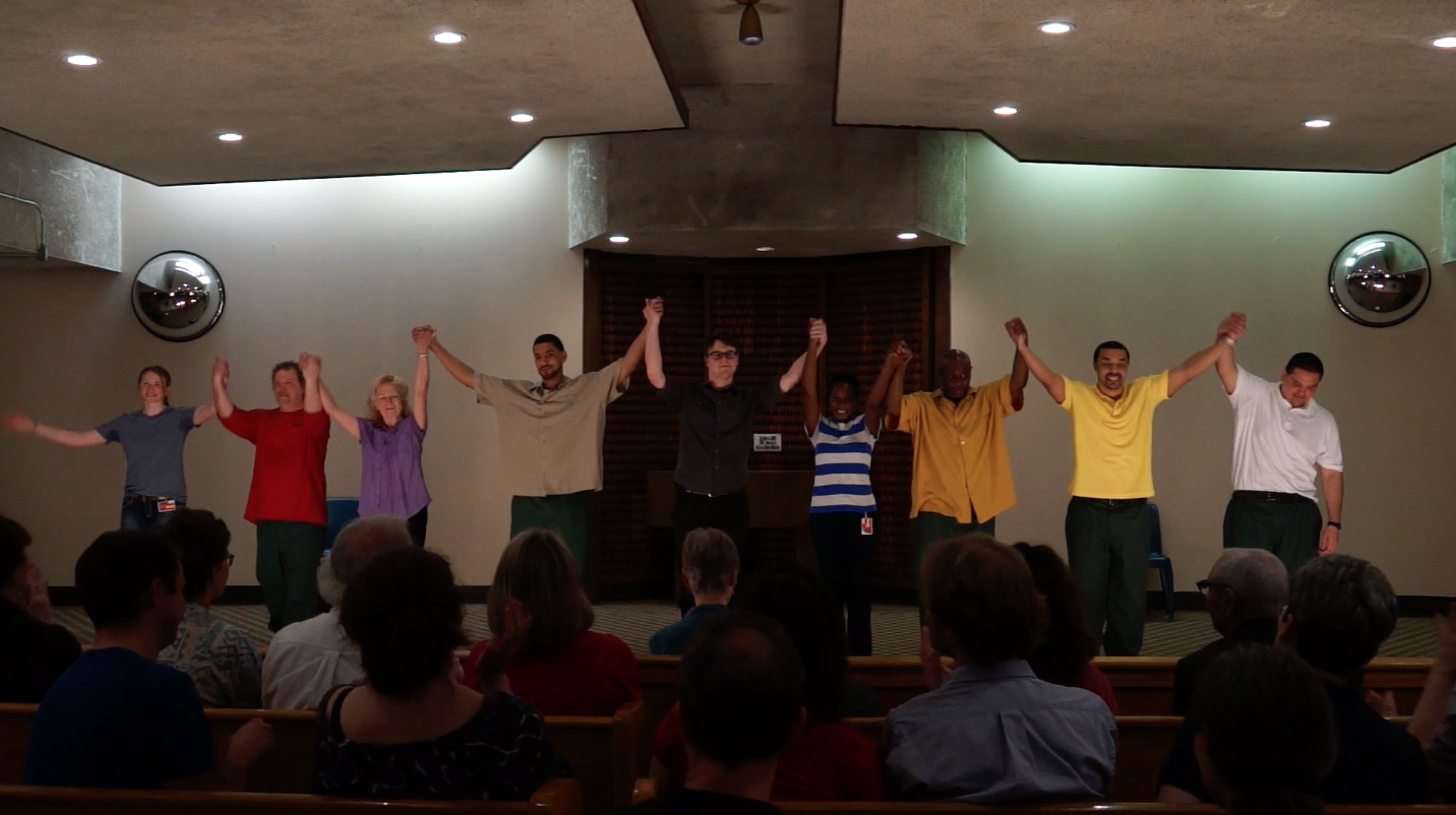 The curtain call. Left to right: Blaize, Nate, Judy, Leroy, Nick, Sandra, Michael, Demetrius, David.