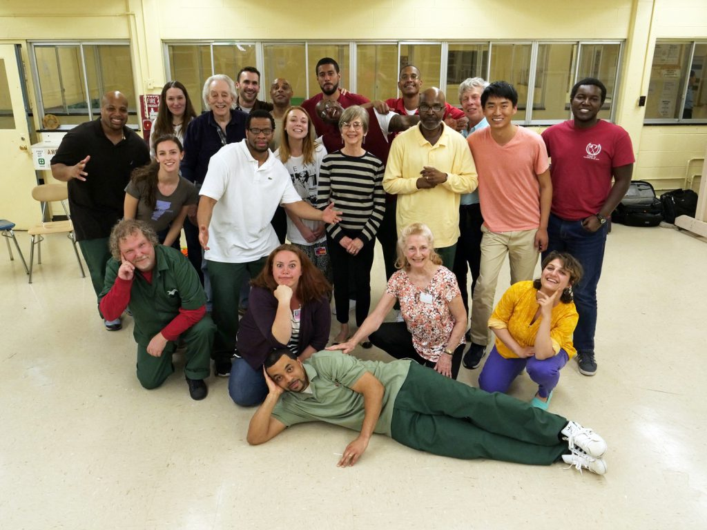 2017 Prison Theater Class. Top (left to right): Robert, Rebekah Maggor, Bruce, Adam, Walker, Leroy, Sheldon, Norm. Middle (left to right): Elana, Ray, Elise, Alison, Mark, Andrew, Mwangi. Bottom (left to right): Nate, Jayme, Judy, Mané. Front: Demetrius. (Photo and Video Credit: Peter Carroll)