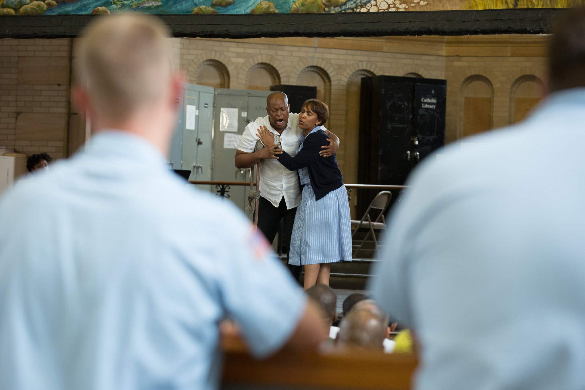 """Musa Ngqungwana and Talise Trevigne performed excerpts from """"Porgy and Bess"""" at Attica Correctional Facility in Attica, N.Y. Photo Credit: Mike Bradley for The New York Times"""