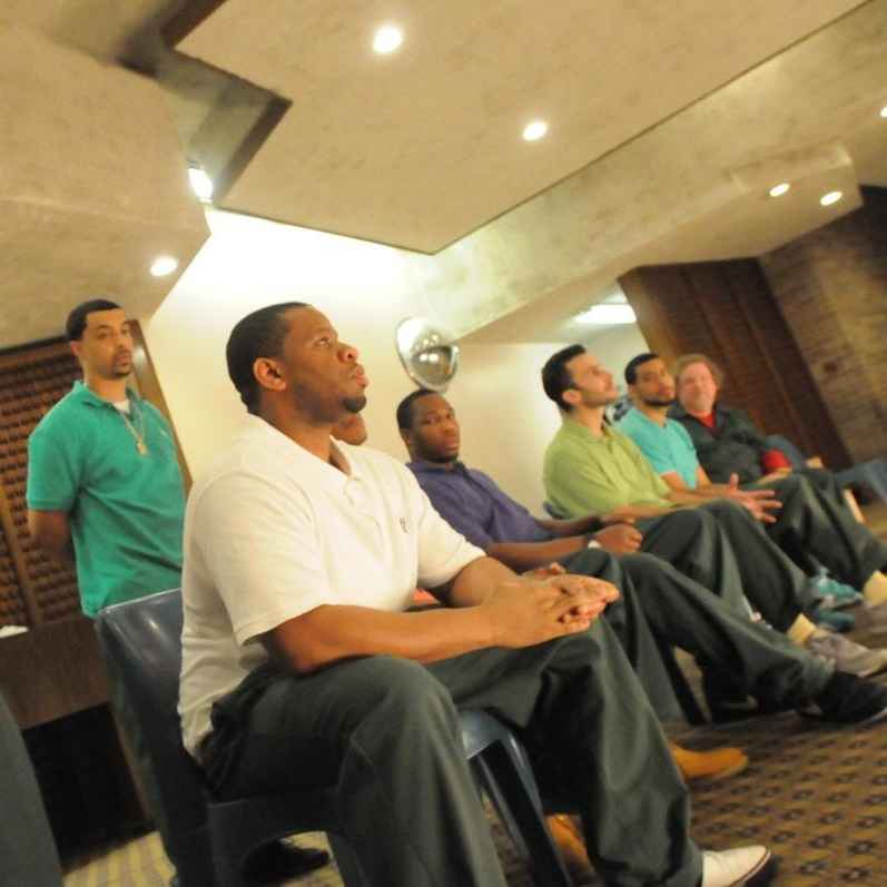 The Phoenix Players Group takes questions from the audience after its performance of  This Incarcerated Life: The Foundation of a Pipe Dream  Thursday in Auburn Correctional facility.  David Wilcox, The Citizen