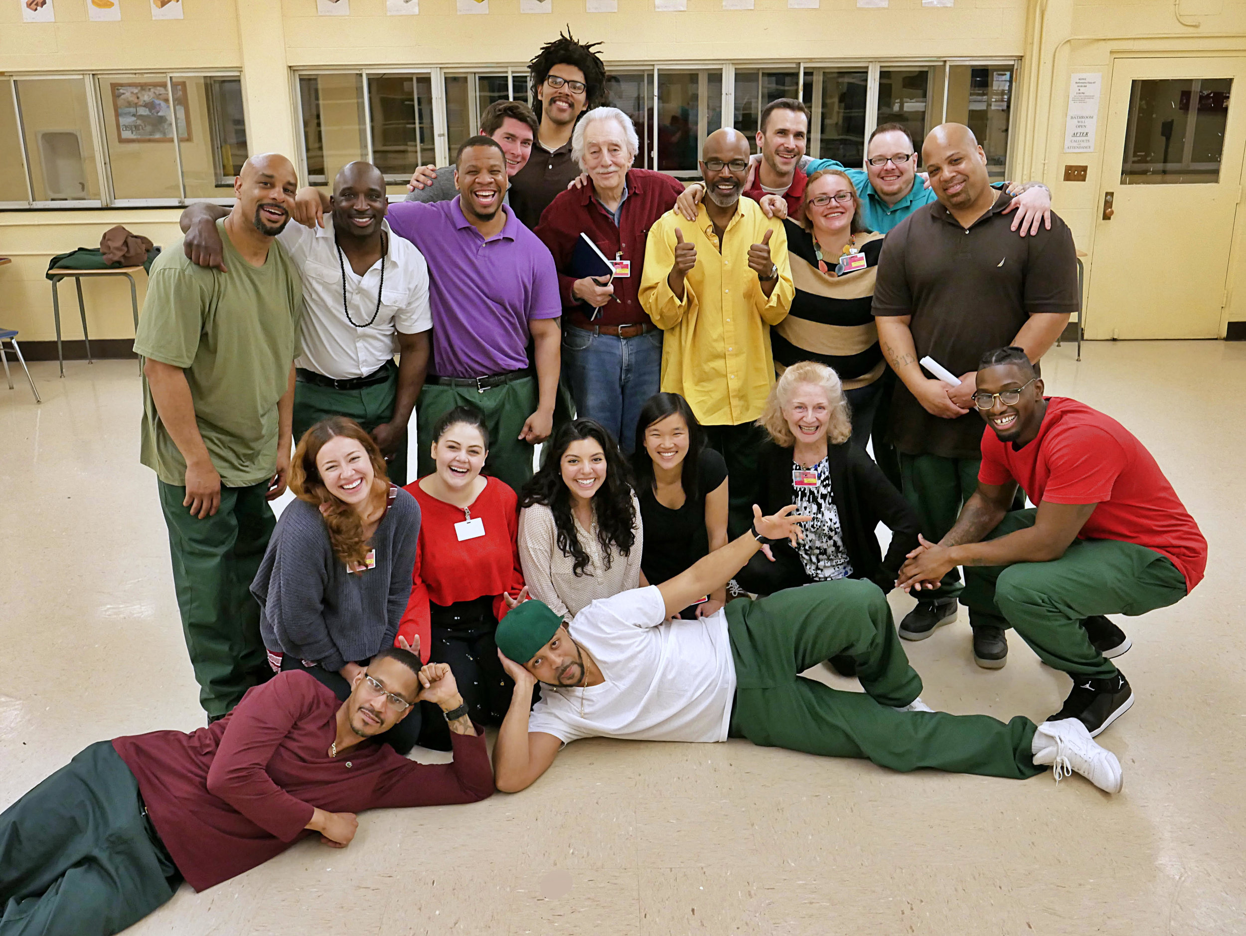 2019 Prison Theater Class. Top (left to right): Walker, Simeon, Ray, Alex, Kevin, Bruce, Mark, Adam, Jayme, Dan, Robert. Middle (left to right): Danielle, Ilana, Keyra, Mabel, Judy, Ariel. Bottom (left to right): Sheldon, Demetrius. (Photo Credit: Peter Carroll)