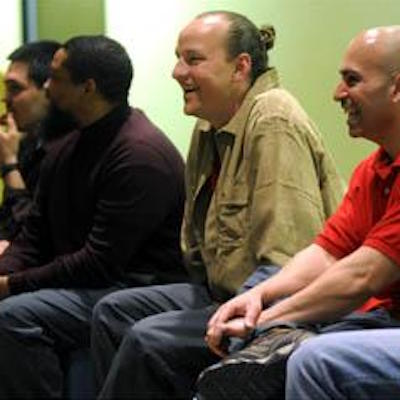 From left, Auburn Correctional Facility inmates Kenneth Brown, Michael Shane Hale and Efraim Diaz respond to questions after their performance at the prison. The inmates performed personal stories with tones of humor and personal hurting as part of the Phoenix Players Theatre Group.  Katie Roupe, The Citizen