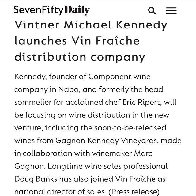We're super excited to see this blurb in @sevenfiftydaily thanks to @ericaduecy! Thanks for sharing our news. We are also even more excited about Doug Banks joining the team to lead national sales! #vinfraîche #drinkfraîche #sevenfiftydaily @bigpinot1 @michaeleats