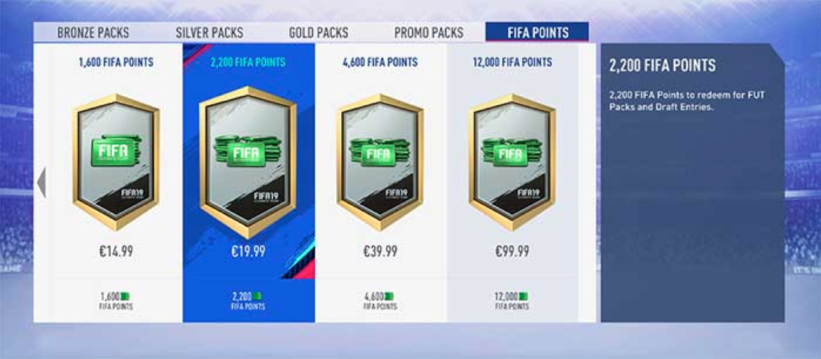 Buying  € 100 (160 AUD) worth of FIFA points would be enough to open just 5, 125k packs.