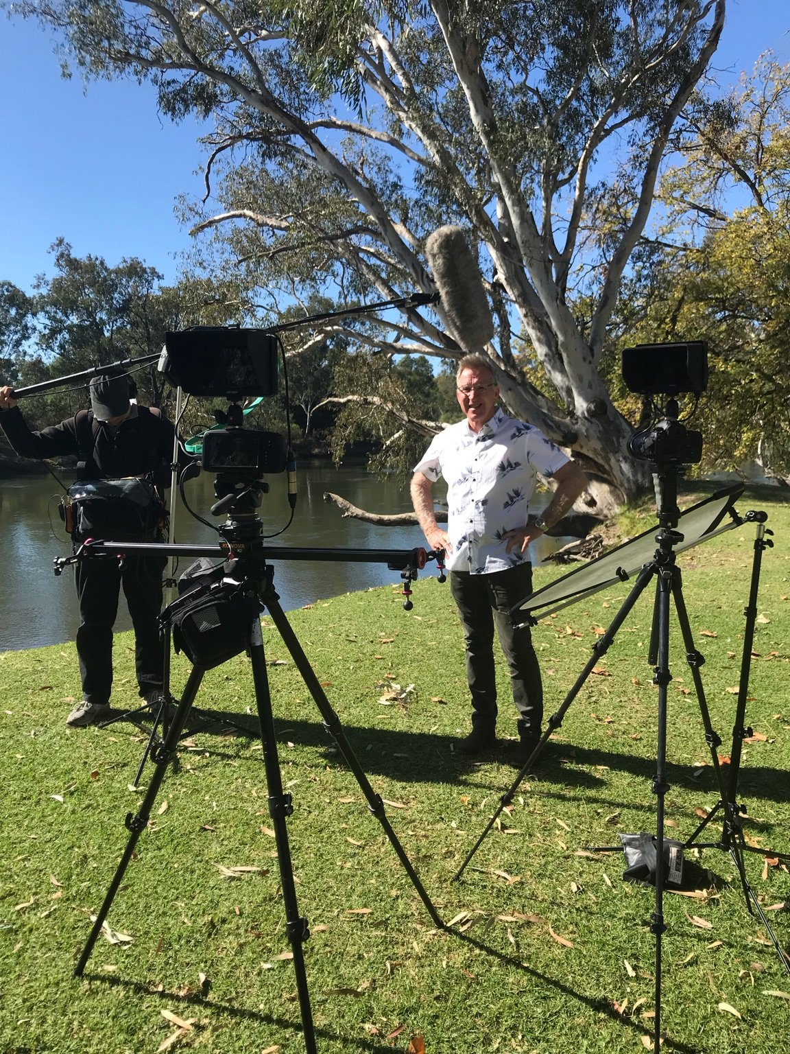 Kevin Mack, independent candidate for Farrer filming at Noreuil Park Foreshore